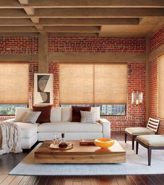 living room motorized smart shades woven wood shades