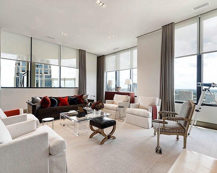 living room white roller screen shades Houston TX