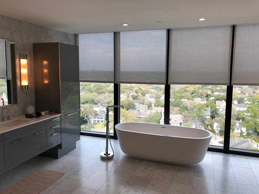 bathroom room darkening roller shades Houston TX