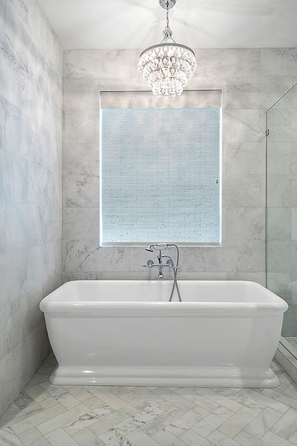 bathroom gray woven wood shades Houston TX