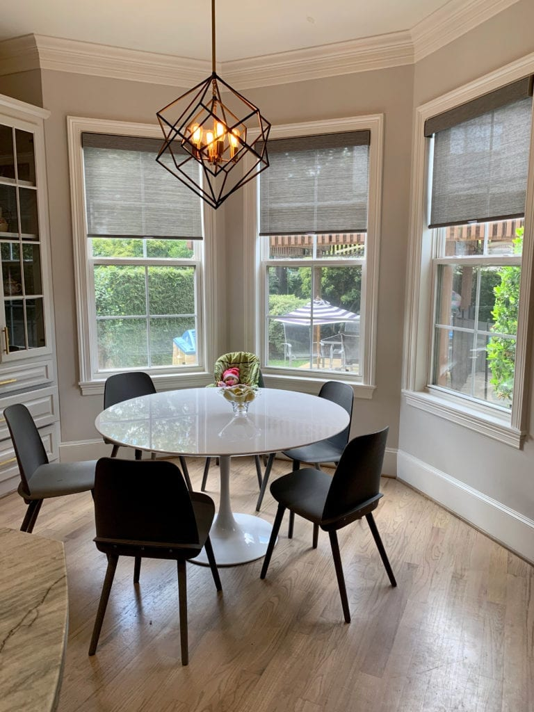 dining room gray woven wood shades Houston TX