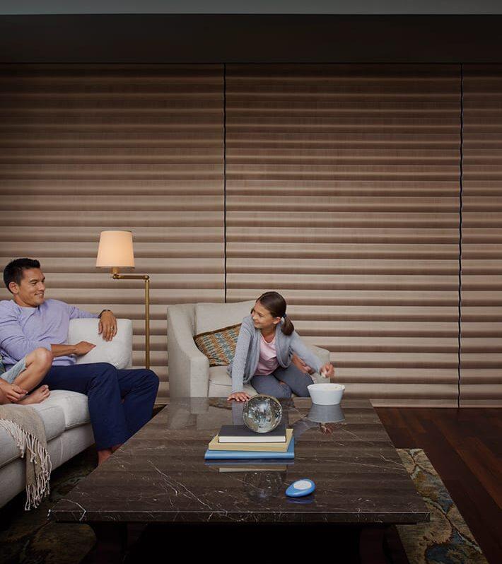 living room floor to ceiling windows with room darkening shades Woodlands TX