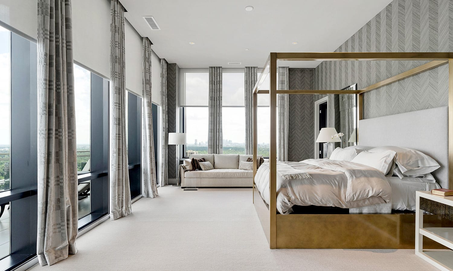 floor to ceiling blinds and drapery on large penthouse windows Houston TX