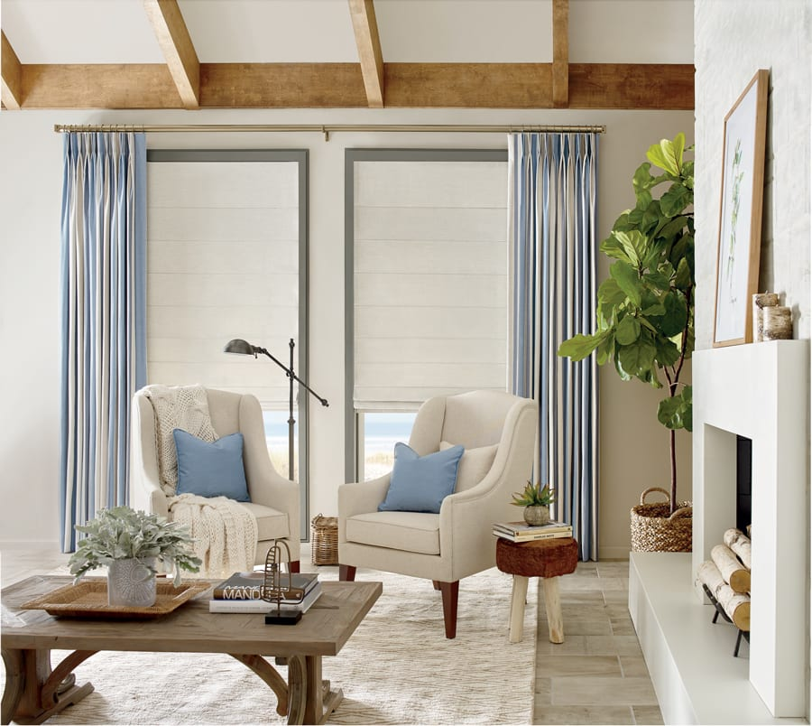 Drapes surrounding window in a Houston home