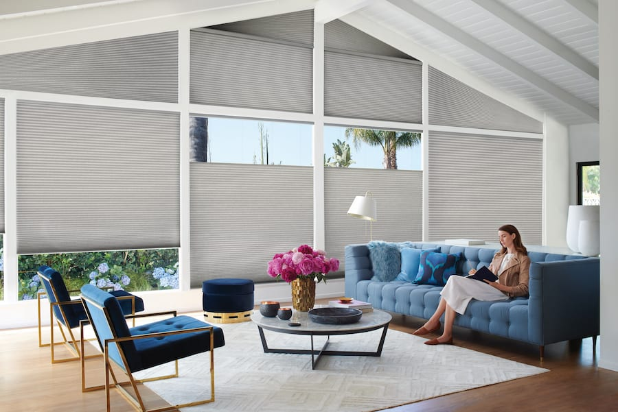 duette honeycomb shades for energy efficiency in Houston home