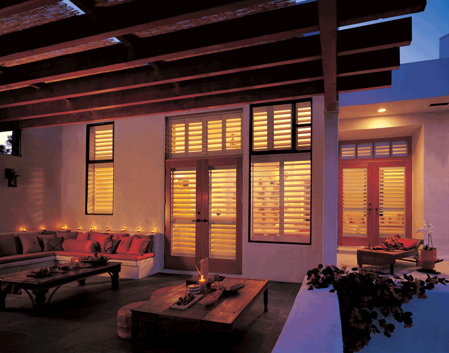 exterior view of interior shutters offer privacy and clean look