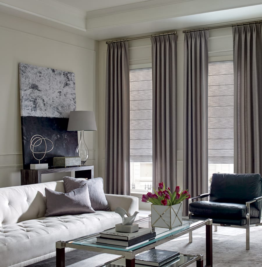 Living room shades and drapes with custom hardware