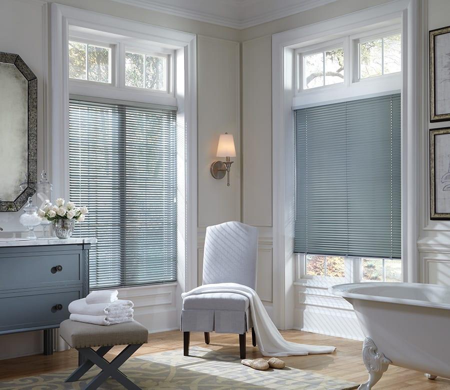 Hunter Douglas aluminum blinds for bathroom privacy Houston TX