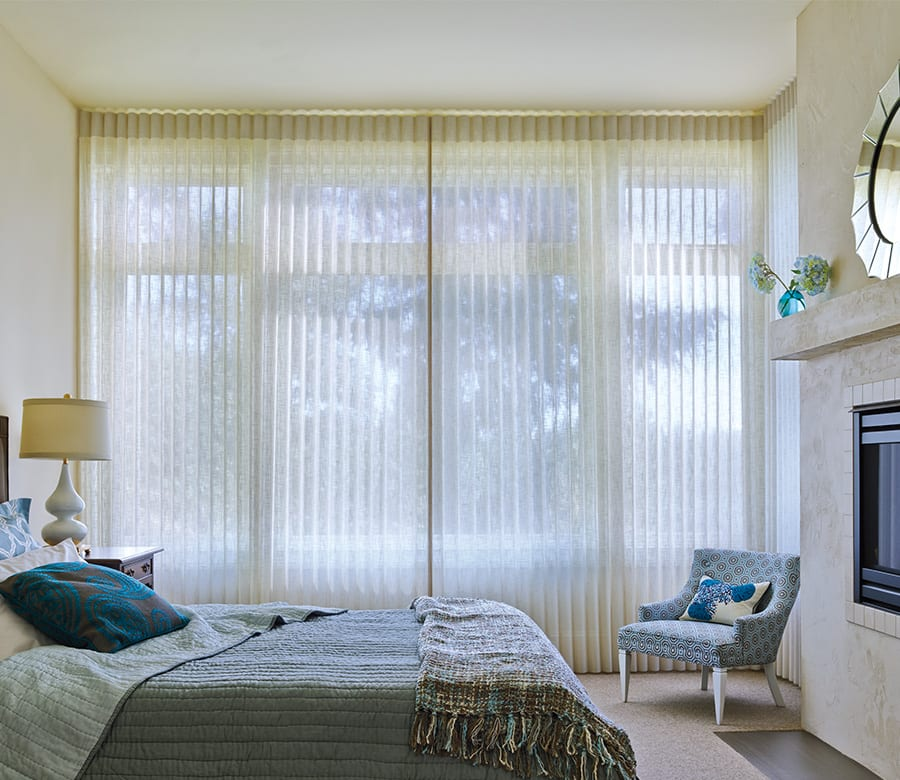 bedroom picture window with floor to ceiling blinds luminette sheer shades Houston TX