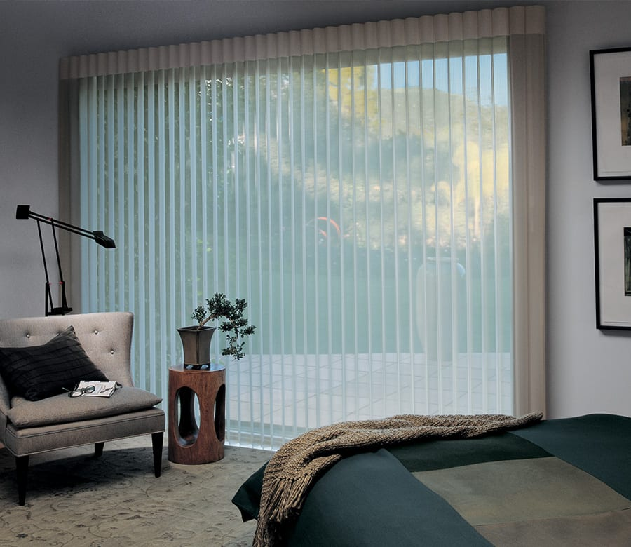 sheer vertical shades luminette drapery on large picture window Houston TX