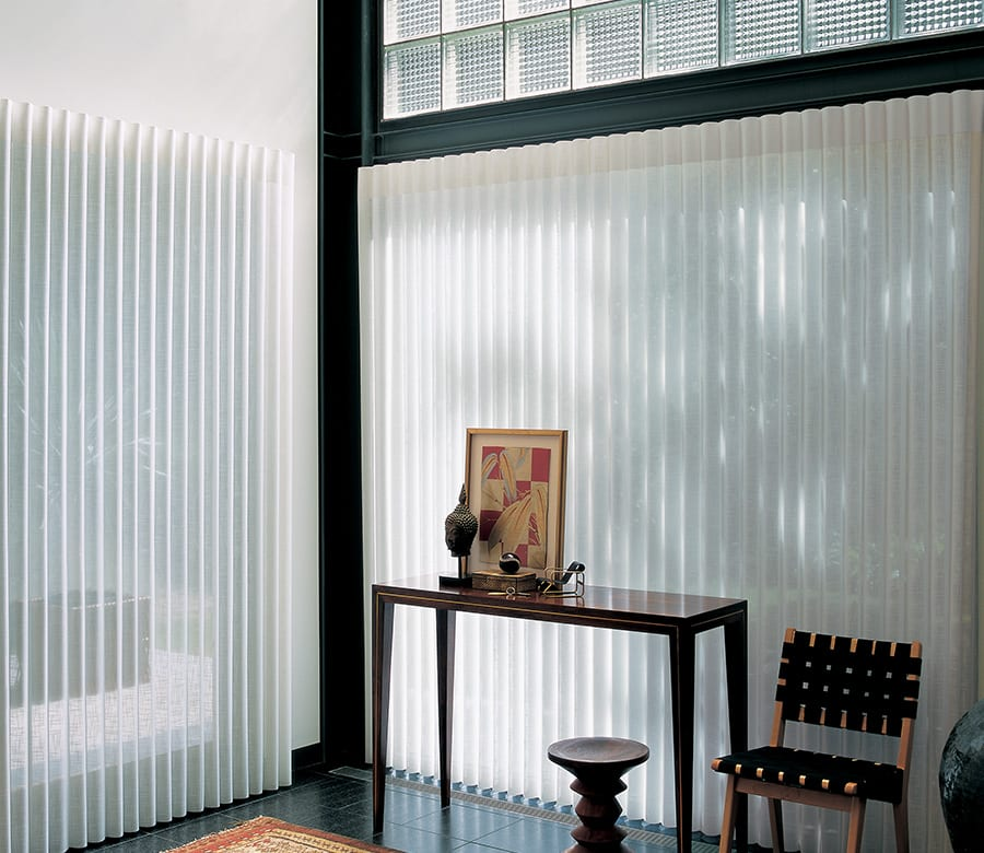 entryway doors with luminette sheer vertical window treatments Houston TX