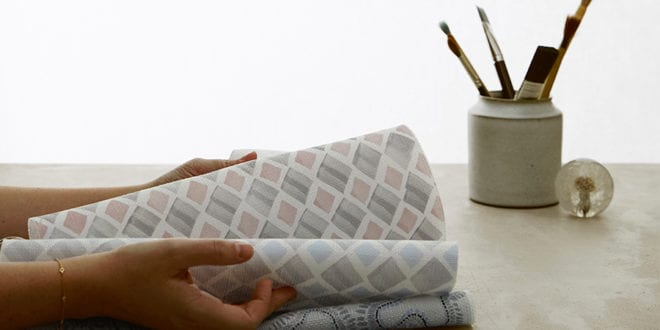 hand painted fabrics from textile artist Rebecca Atwood for Hunter Douglas Design Studio