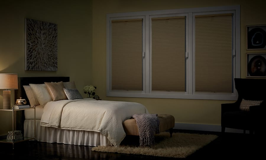 take control of sleep with blackout shades in bedroom Houston TX