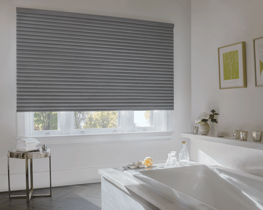 bathroom window shade in gray for style and privacy need motorized shades Houston TX