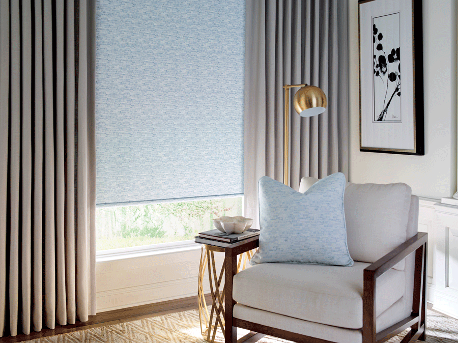 blue roman shades accents of gold lamp houston tx