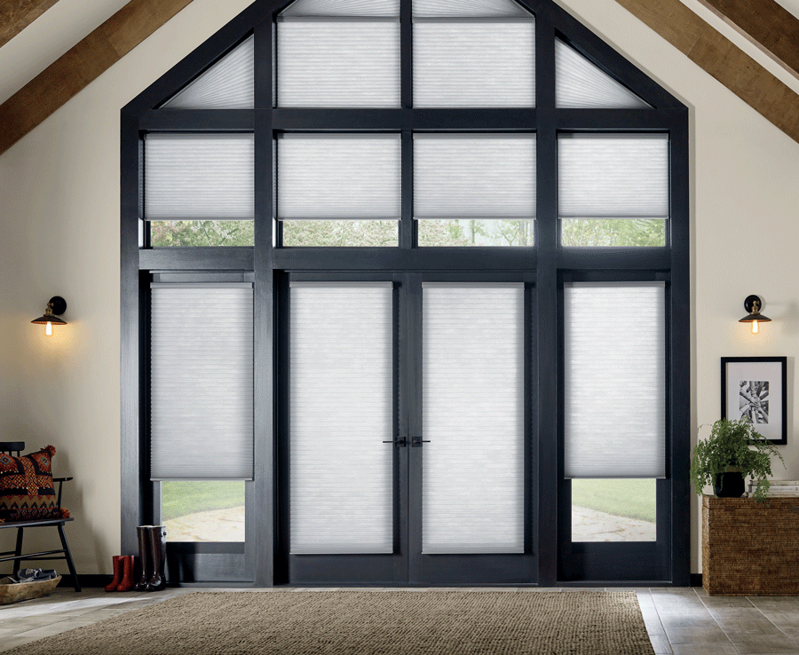entryway doors and windows with motorized shades Houston TX