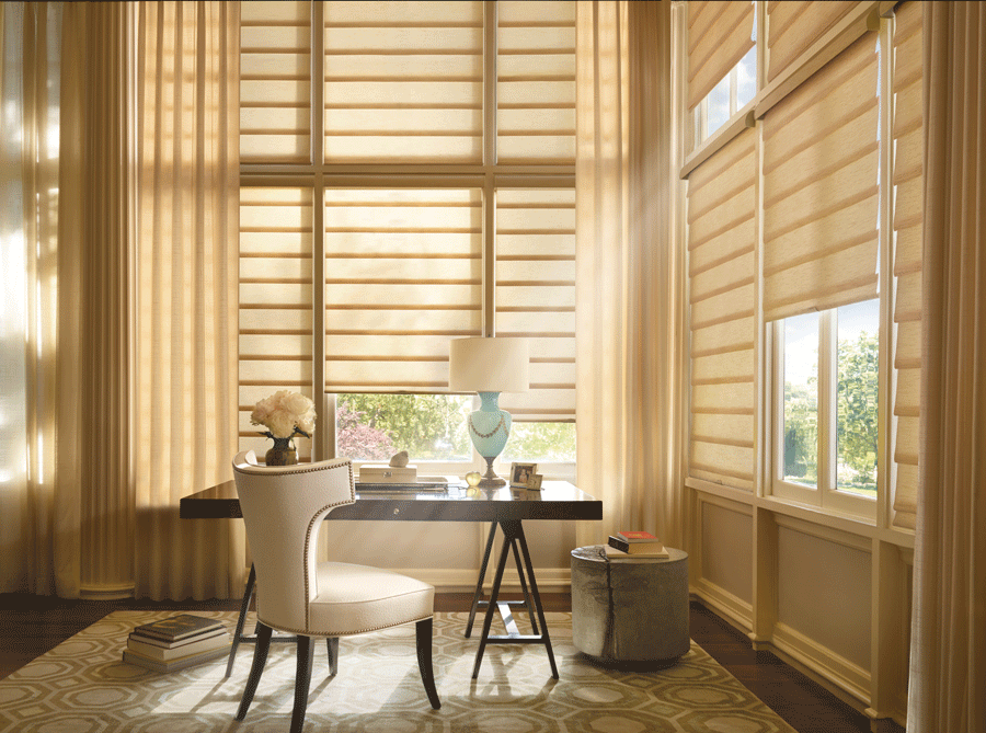 home office with sunshine blocking control one tap away you need motorized shades Houston TX