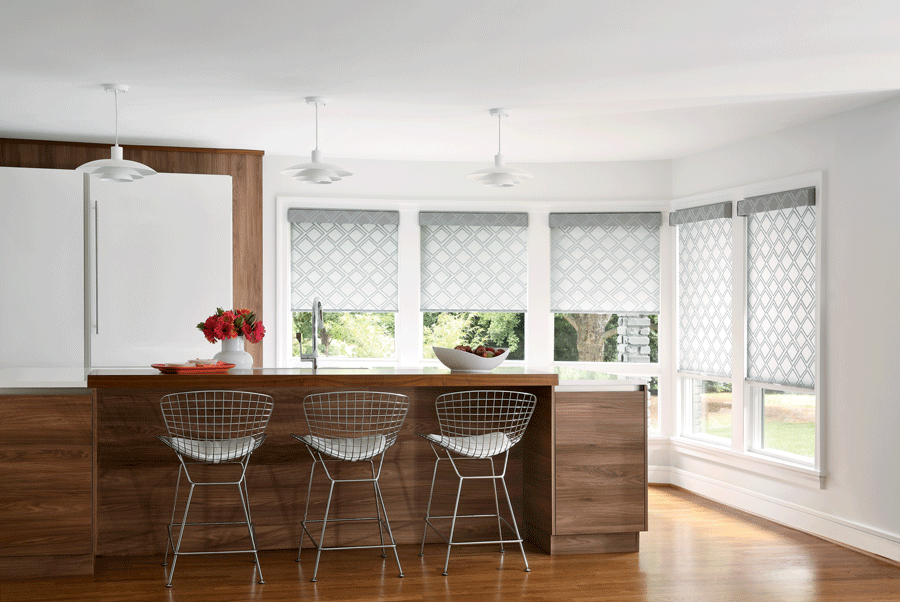 white patterned roller shades in the kitchen Memorial TX