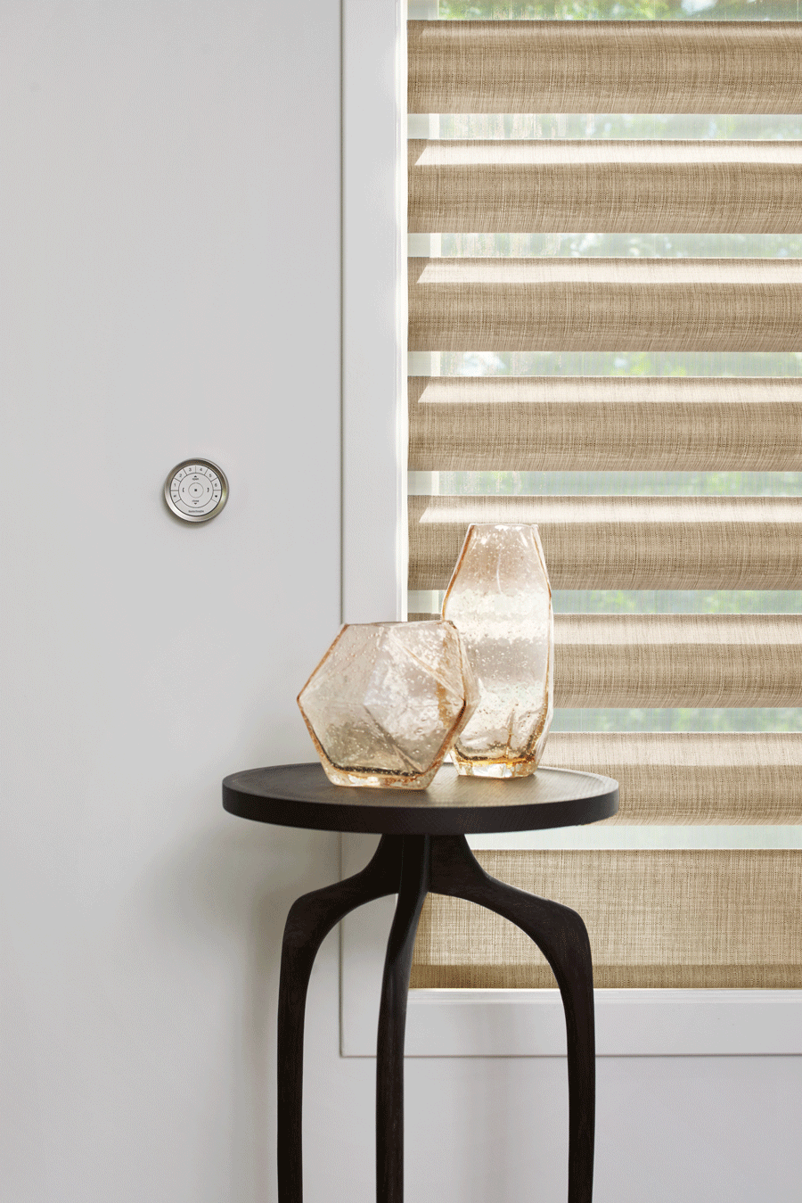 gold pirouette window shades in living room woodlands TX