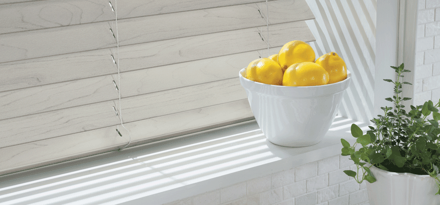 Faux wood blinds complete any space.
