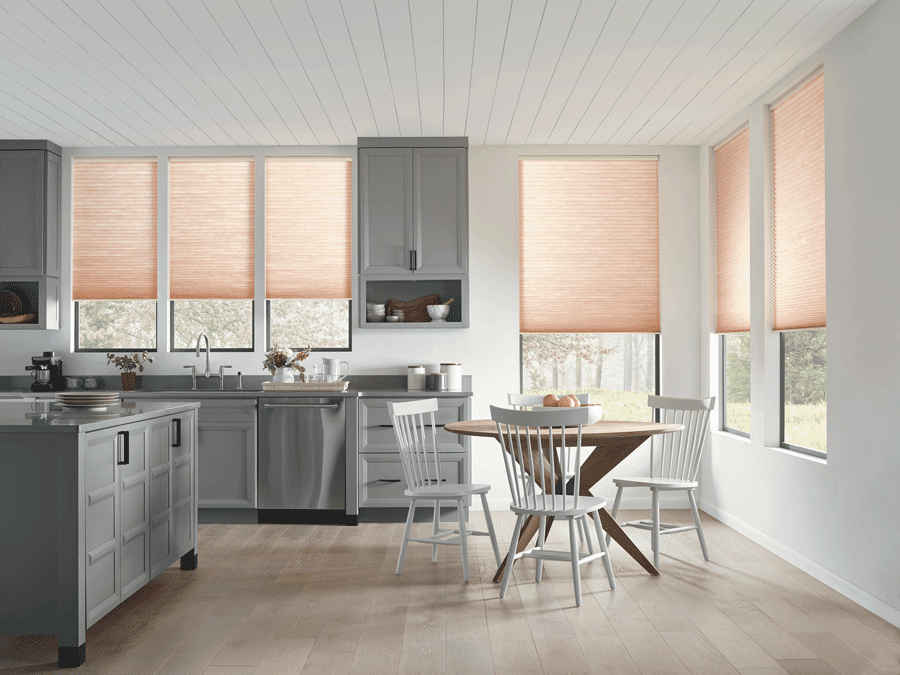 Kitchen with window treatments to filter natural light.