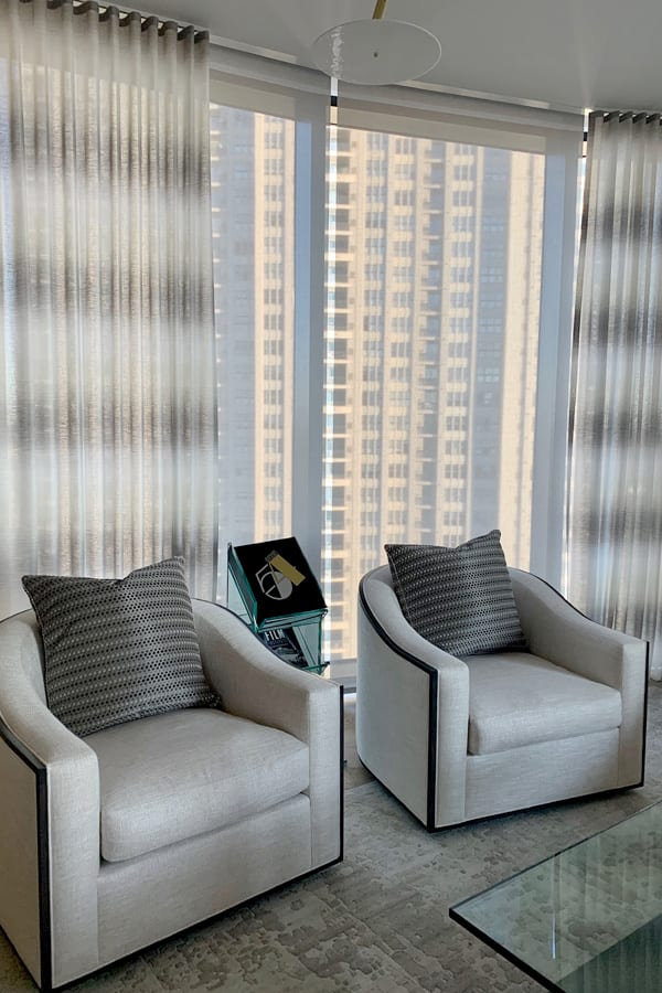 floor to ceiling windows with sheer drapery panels Houston TX