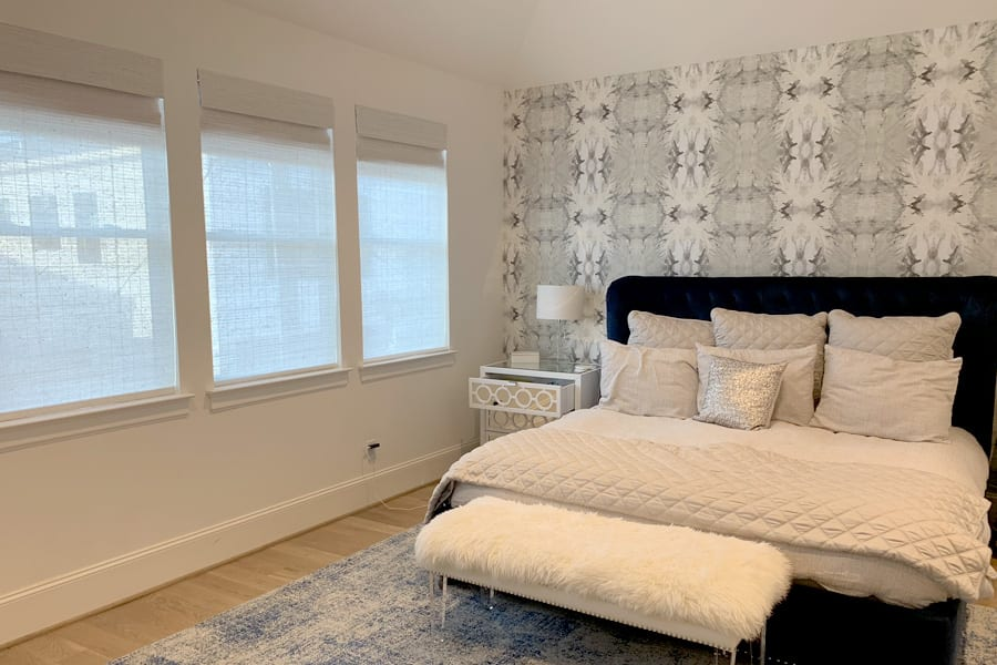 dual shades roller shades in gray and white bedroom Baybrook TX