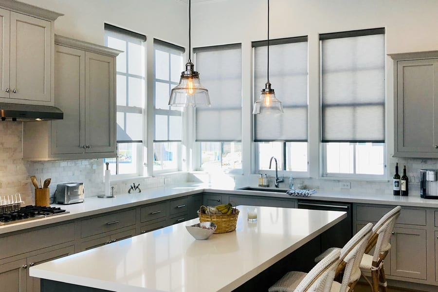 gray roller shades in modern kitchen gray cabinets Houston TX