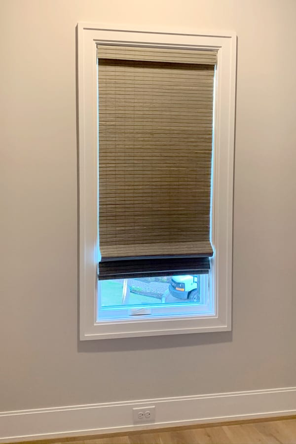 narrow window with woven wood shades Memorial TX