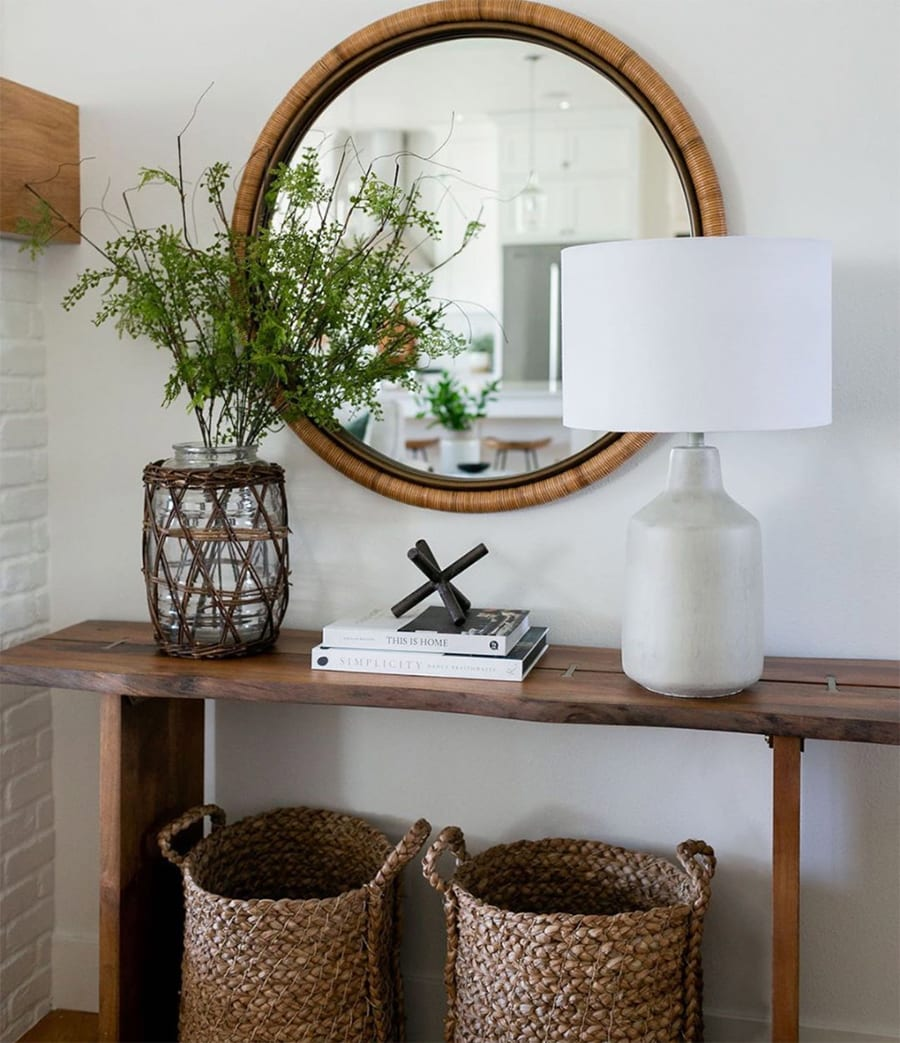 entryway table with woven baskets
