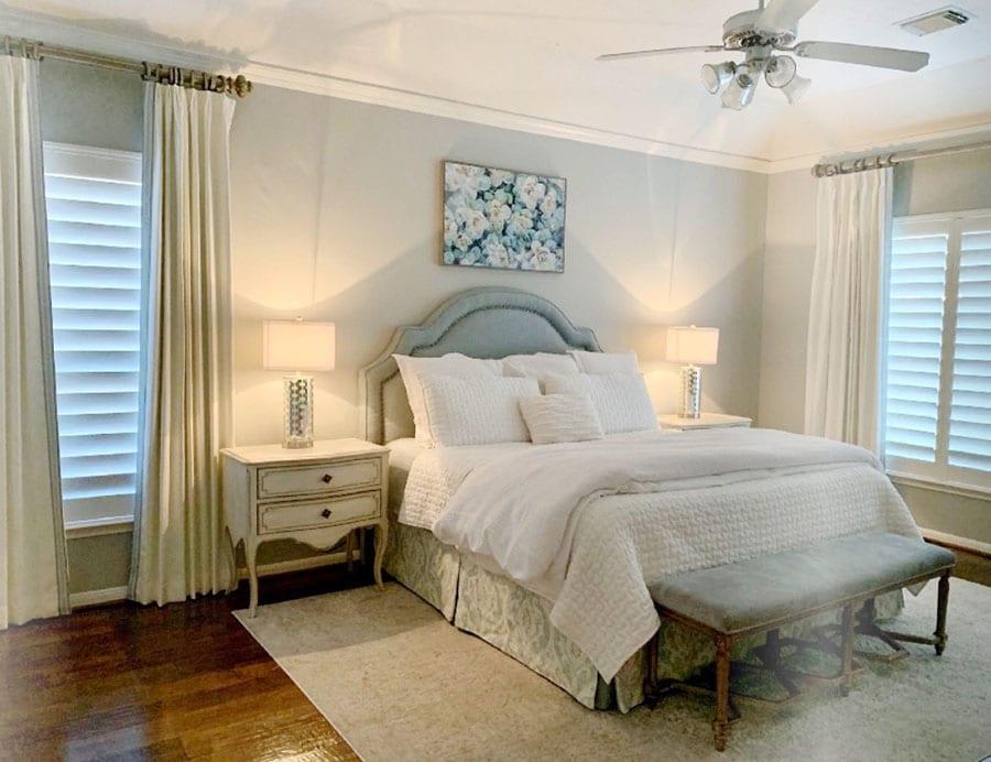 layering window coverings in bedroom Houston TX