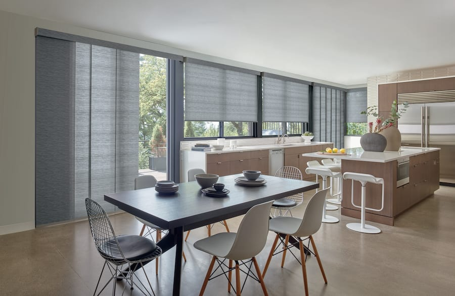 Modern kitchen with Stormy Gray roller shades.
