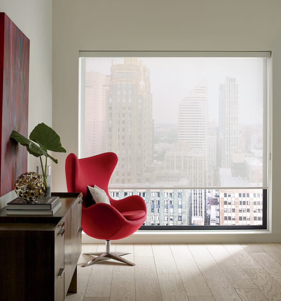Designer Screen shades with 10% opacity by Hunter Douglas.