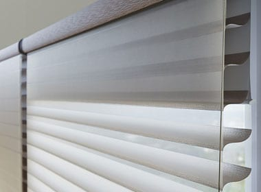 close up of silhouette shades with secondary blackout roller dual shades Memorial TX