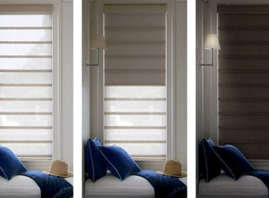 three views of the same window with dual shades in houston TX