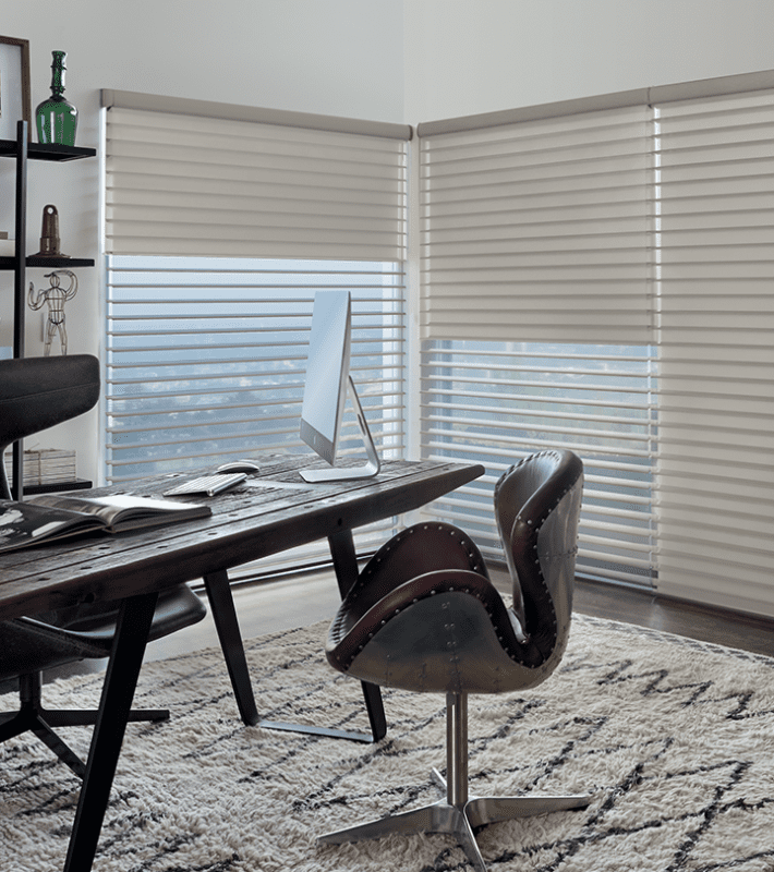 home office with dual shades on windows silhouette with blackout roller shade Memorial TX