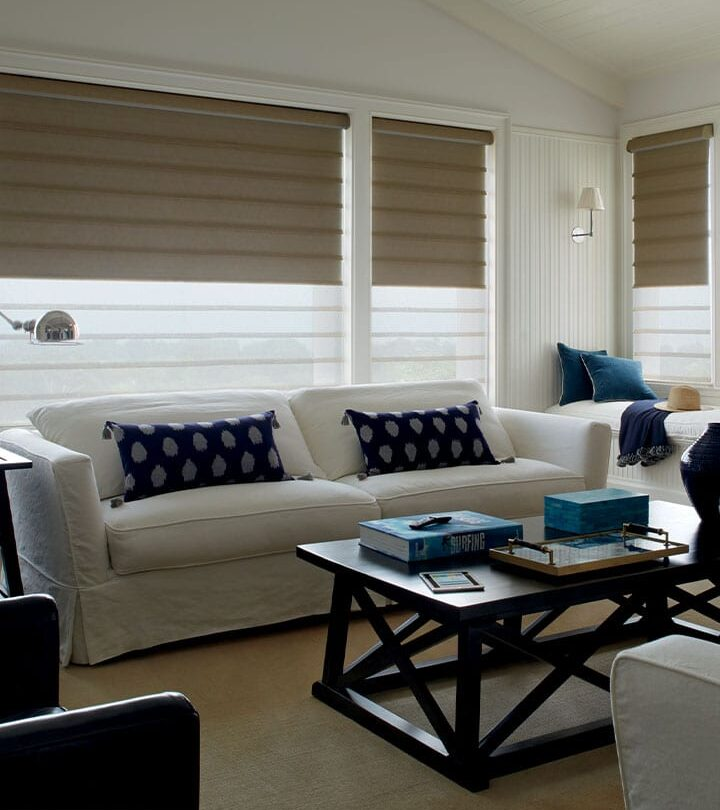 living room with light filtering roman shade and secondary dual shades blackout shade Houston TX