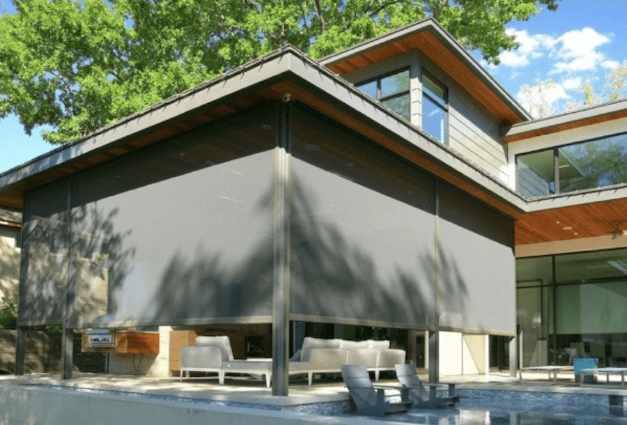 black exterior shades on covered patio in the woodlands houston TX