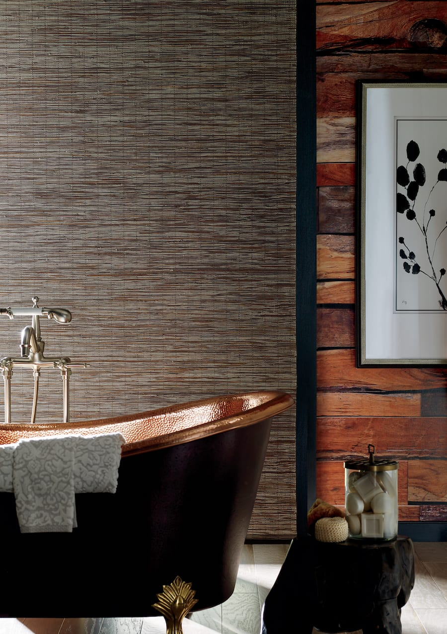woven wood shades in bathroom with copper tub Houston TX