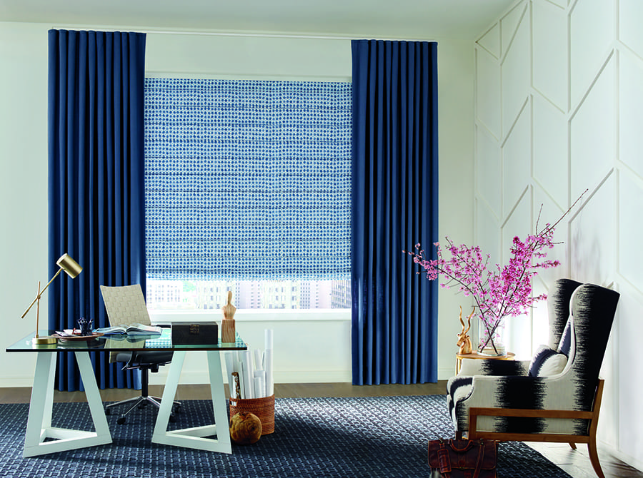 color trends with blue draperies and patterned blue roman shades in home office Houston TX
