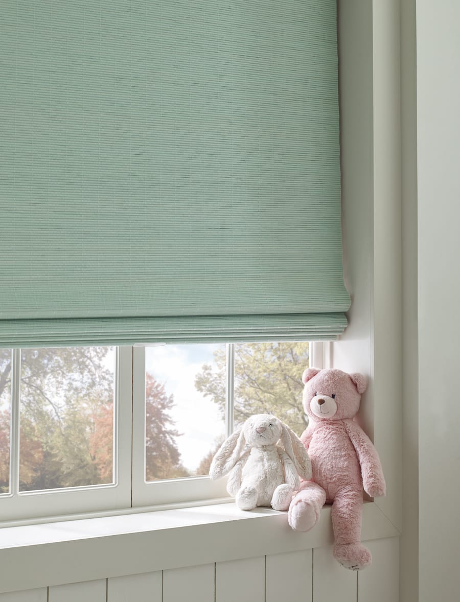 Cordless window shades green woven woods safe for nursery
