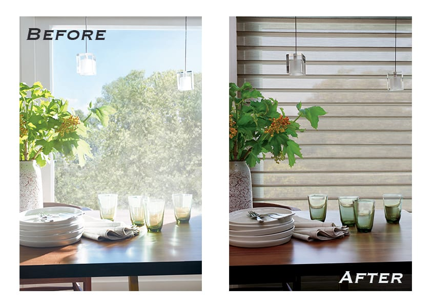 before and after comparison for bare windows vs shades in houston