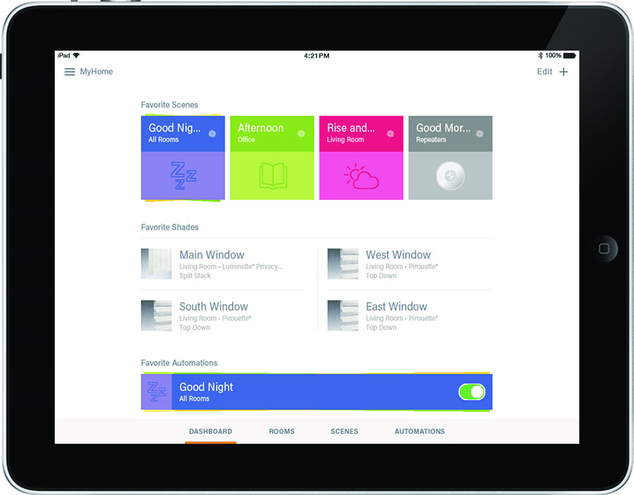 ipad control of smart shades to schedule adjustments in houston TX