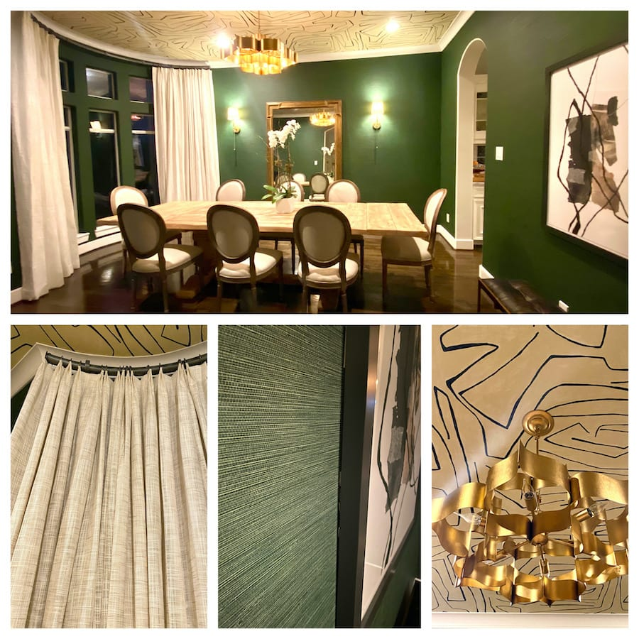 green dining room with drapery panels and wallpaper in houston TX home
