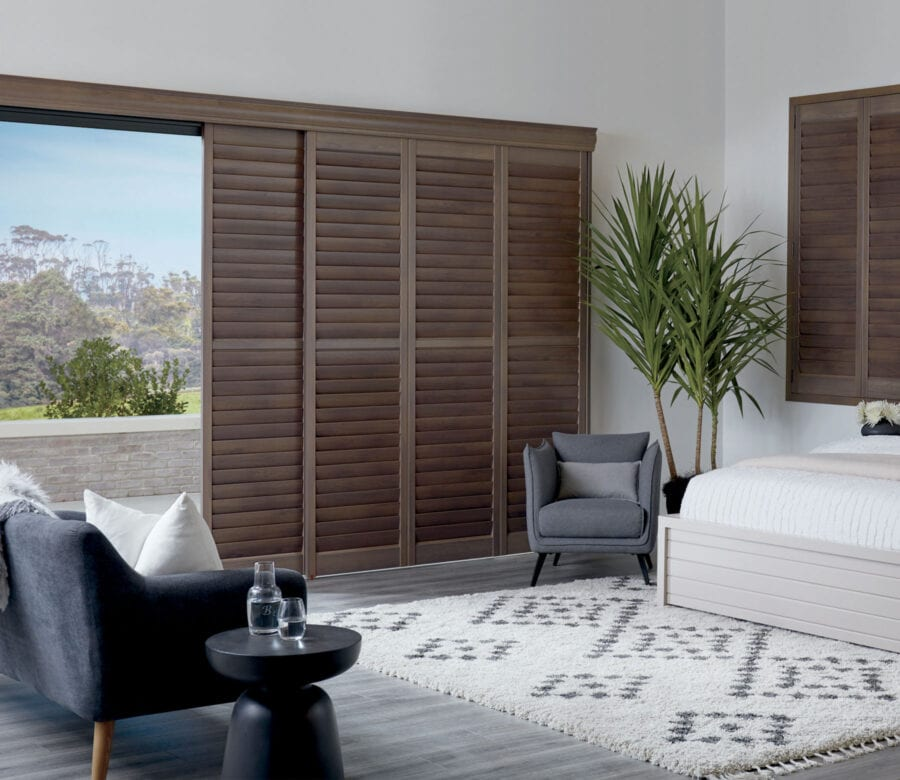 dark wood newstyle hybrid shutters in houston texas