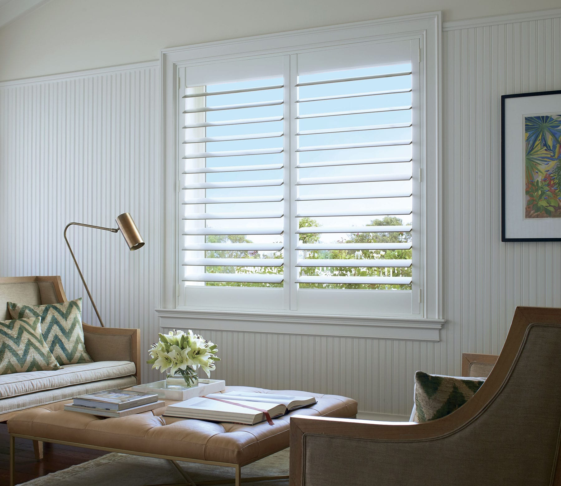 newstyle hybrid shutters in living room in houston texas