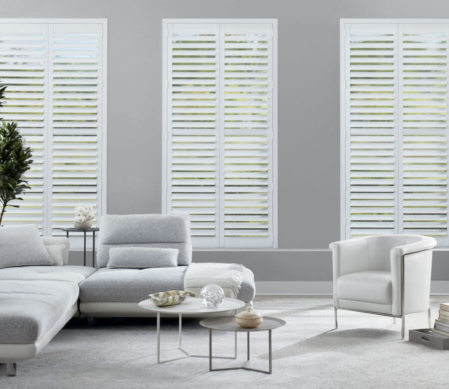 modern living room with newstyle shutters houston texas home