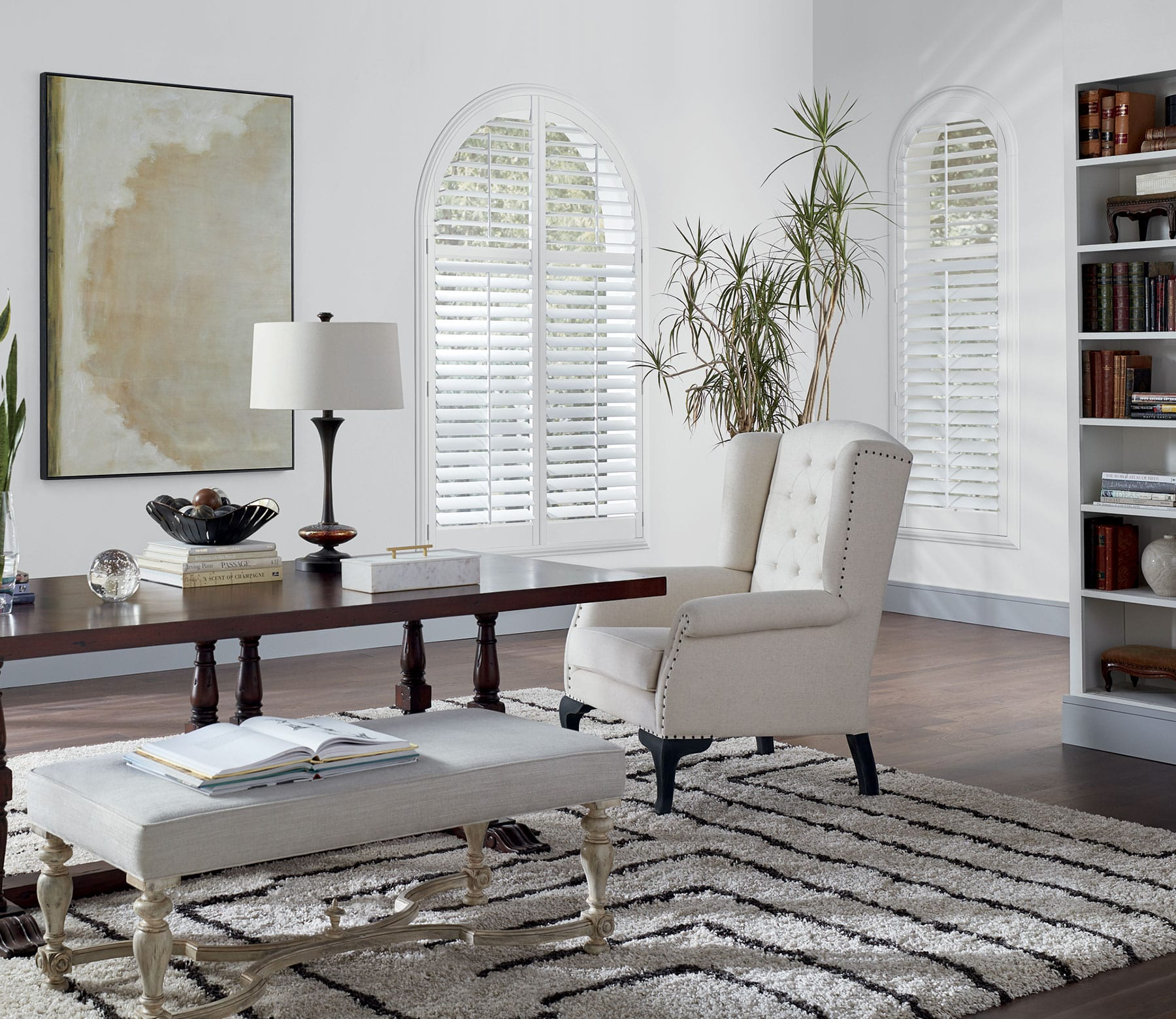 arched window with newstyle hybrid shutters houston TX