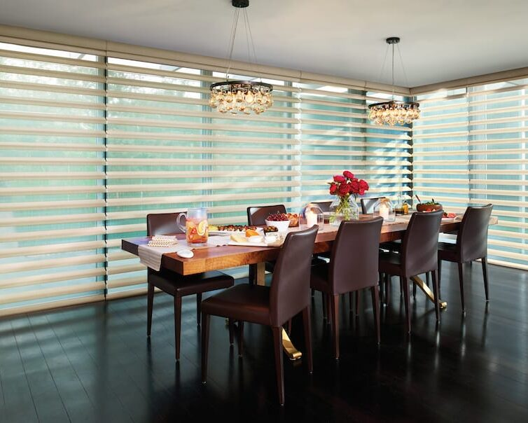 large windows in dining room with window shades Houston TX
