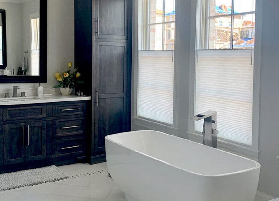 bathroom window coverings with top down shades Magnolia TX